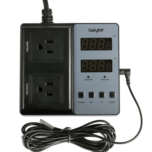110V Pre-Wired Digital Temperature Controller Thermostat 2 Relays Outlet Switch