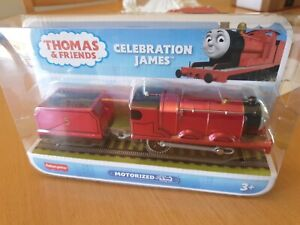 Thomas TRACKMASTER MOTORISED 75TH Celebration JAMES  Metallic TRAIN freepost