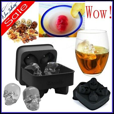 Skull Shape 3D Ice Cube Mold Maker Halloween Party Silicone Trays  Mold Gifts