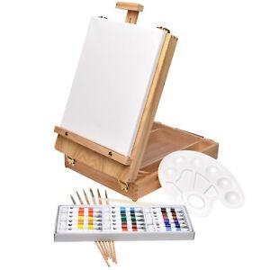 kofferstaffelei 28 tlg malset kinder malkoffer tisch staffelei holz acryl farben ebay. Black Bedroom Furniture Sets. Home Design Ideas