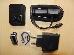 Bluetooth-Headset-Sony-Ericsson-HBH-PV720-KFZ-Ladekabel-Ladegeraet-Adapter-Dock