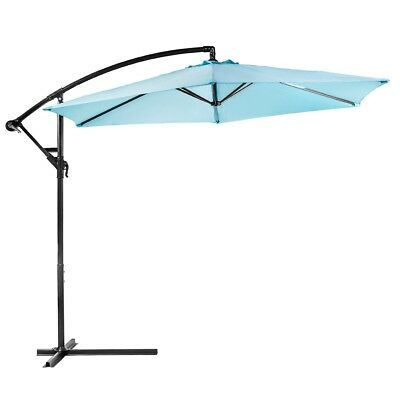 10ft out door deck Patio Umbrella Off set Tilt Cantilever Hanging Canopy Aqua