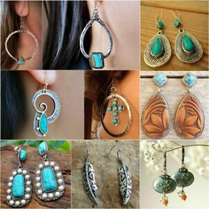 Vintage-925-Silver-Turquoise-Gemstone-Ear-Stud-Hook-Earrings-Reto-Women-Jewelry
