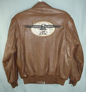 EXCELLED-EAA-VISION-OF-EAGLES-COMMEMORATIVE-A2-BOMBER-LEATHER-JACKET-MENS-L-XL