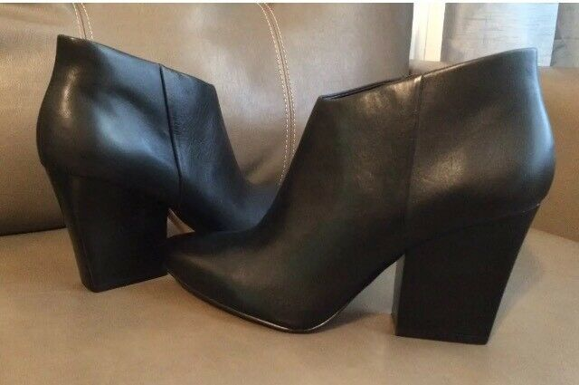 Calvin Klein Women's Zabrina/Zania Leather Ankle Boots Black Sz 6, 6.5, 7, 7.5,9