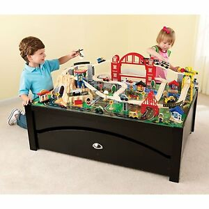 Image Is Loading KidKraft Metropolis Espresso Train Table 100 Piece Train
