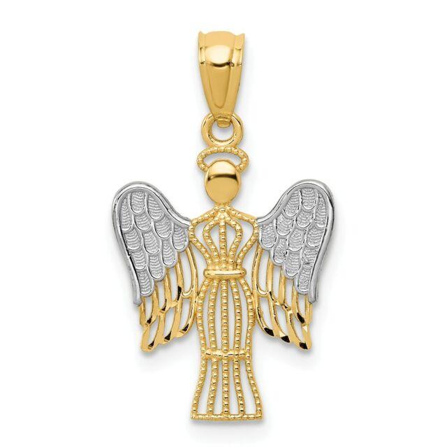 14k Yellow /& White Gold Filigree Angel 28x18mm Pendant Charm