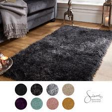 Sienna Large Shaggy Floor Rug Plain Soft Sparkle Area Mat 5cm Thick Pile Glitter