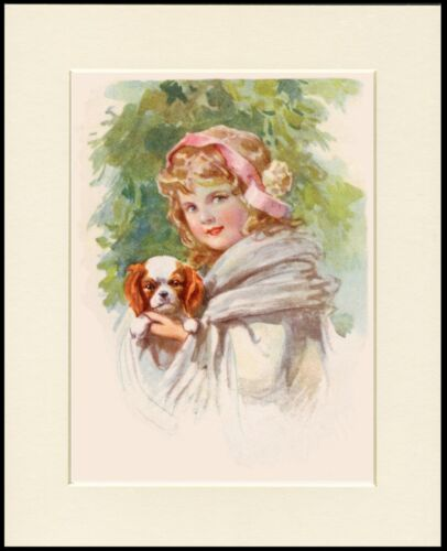 CAVALIER KING CHARLES SPANIEL AND LITTLE GIRL LOVELY DOG PRINT READY TO FRAME