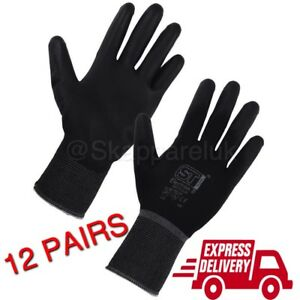 12 Pairs PU Nitrile Coated Safety Work Gloves Garden Construction Grip
