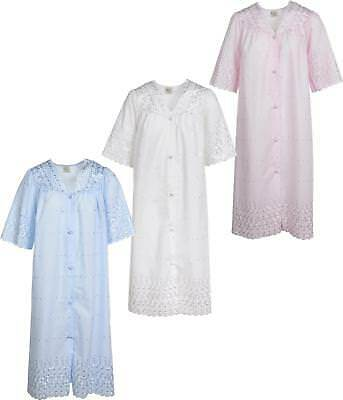 Ladies Nightdress Short Sleeve With Front Button Fastening V Neck Embroidered