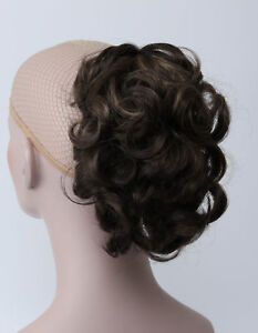 medium brown mix short curly wavy claw clip ponytail