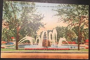 Fountain-in-Meyer-Circle-Kansas-City-Missouri-Vintage-Postcard-1942-Linen-D125