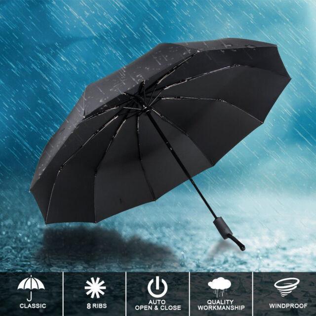 12 Ribs Folding Umbrella Windproof Travel Auto Open//Close Umbrellas Mens Women