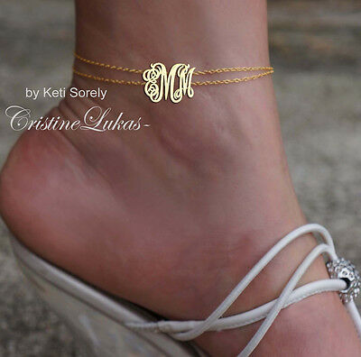 Handmade Double Chain Monogram Initials Anklet in Yellow Gold