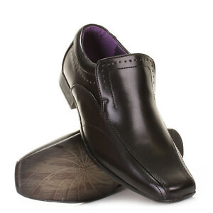 Mens-Slip-On-Smart-Leather-Style-Punched-Brogue-Work-Evening-Shoes-Size-6-12