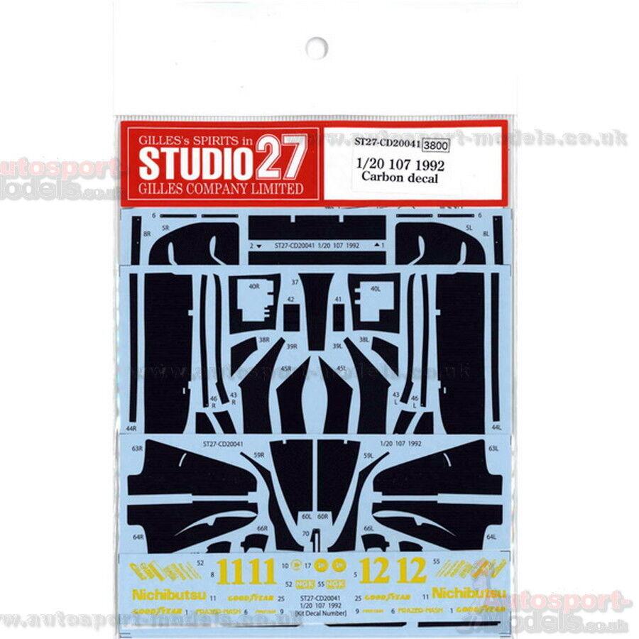 1 20 Lotus 107 Carbon decals set by Studio 27  CD20041 to suit Tamiya kits
