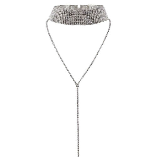 Women Fashion Rhinestone Inlaid Multilayer Choker Tassel Chain Necklace Jewelry