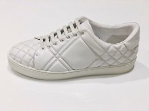 Burberry-Ladies-Check-Quilted-White-Leather-Trainers-Sneakers-Size-40-10-US