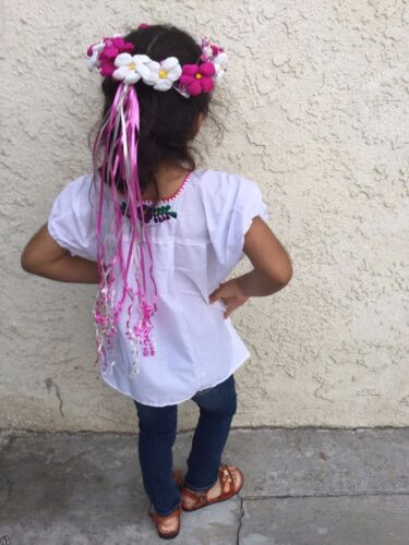 CORONA DE FLORES MEXICAN PAPER FLOWER CROWN HAND MADE CHILDREN PINK /& WHITE