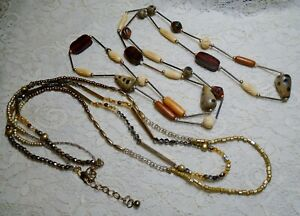 VINTAGE-TO-NOW-MULTI-COLOR-WOOD-amp-GLASS-BEADED-STATION-LONG-BOHO-NECKLACE-LOT