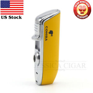 COHIBA-Metal-Yellow-3-Torch-JET-Flame-Cigar-Cigarette-Lighter-With-Punch