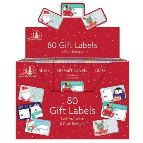 Christmas Self Adhesive 80 Gift Labels Tags Traditional Assorted Stickers Wrap