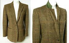 RALPH LAUREN Brown Wool Tweed Riding Jacket Suede Under collar Horse Button 8