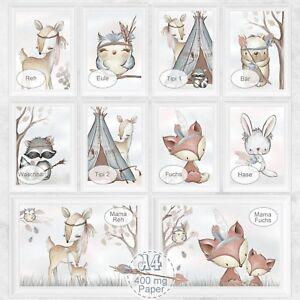 Kinderzimmer-Bilder-Set-Baby-Zimmer-Bild-Wald-Tiere-Fuchs-Reh-Natur-DIN-A4-S30