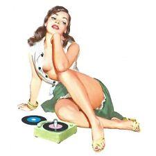 Pinup Girl retro shaped vinyl sticker decal 40s 50s Rockabilly 150mmx150mm