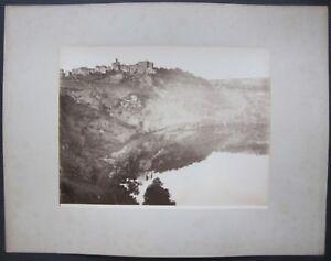 1890ca GENZANO foto panorama albumina originale 20x26 cm Lago di Nemi Roma