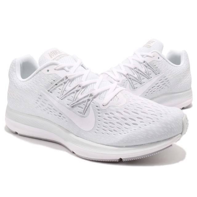 Men's Nike Air Zoom Winflo 5 Running Shoes White/White Sizes 8-12 NIB AA7406-100