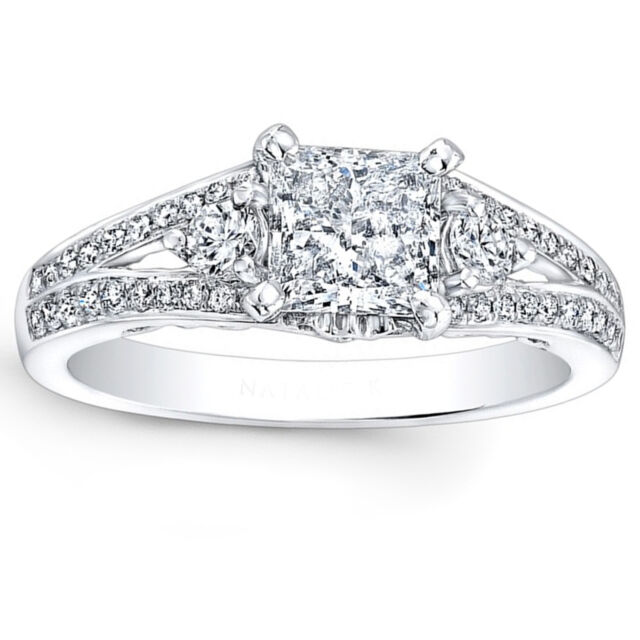 1.16 Ct Diamond Engagement Ring 14K White Gold Round Princess Cut Solitaire Size