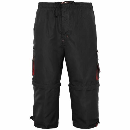 MENS 2 IN 1 COMBAT CARGO ZIP OFF SUMMER JOGGING CASUAL TROUSERS SHORTS 3//4 PANTS
