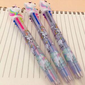 6 In 1 Cartoon Unicorn Chunky Ballpoint Pen School Office Supply Gift Stationery