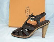 luxus Tods Tod´s Gr 40,5 Sandaletten High Heels Schuhe Shoes mokka neu UVP 430€