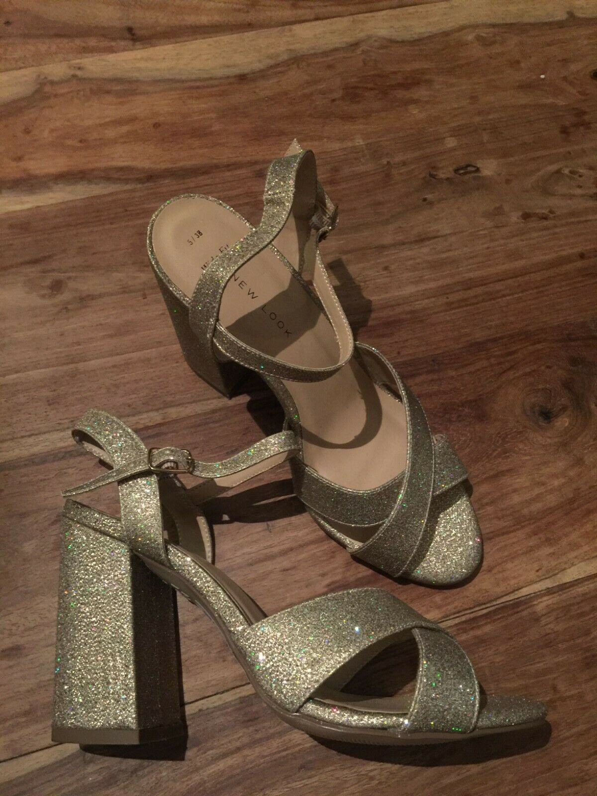Lovely New Look Block Gold Heels size 5