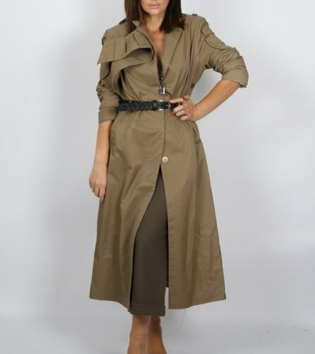 Unbranded Olive green Belted Long Maxi Trench Coat