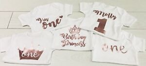 Luxury Girls First 1st Birthday Cake Smash Rose Gold Top Vest T-Shirt Outfit
