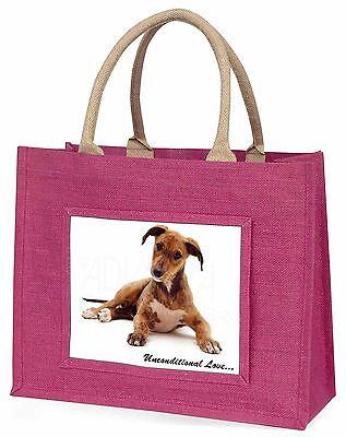 Lurcher Hund mit Love Große Rosa Einkaufstasche Weihnachten Geschenkidee,