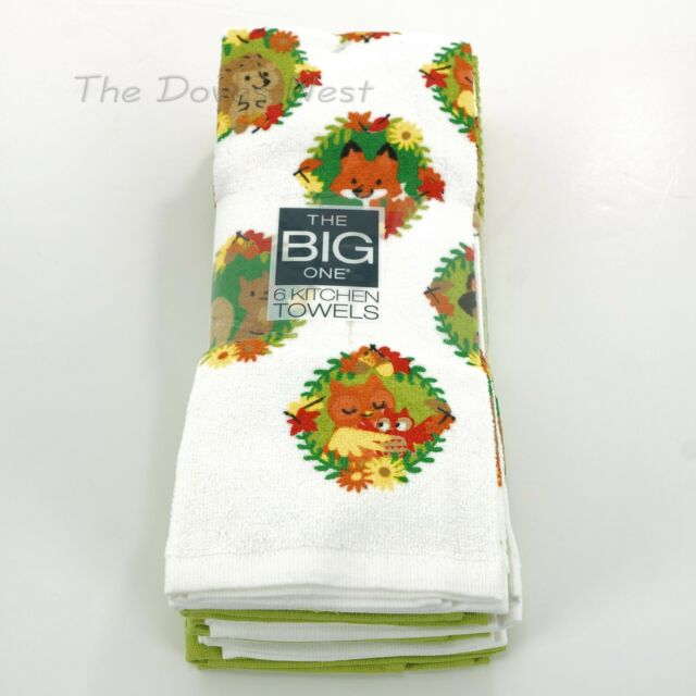 Kohls The Big One Animal Portraits 6 Pac Cotton Kitchen Towels For