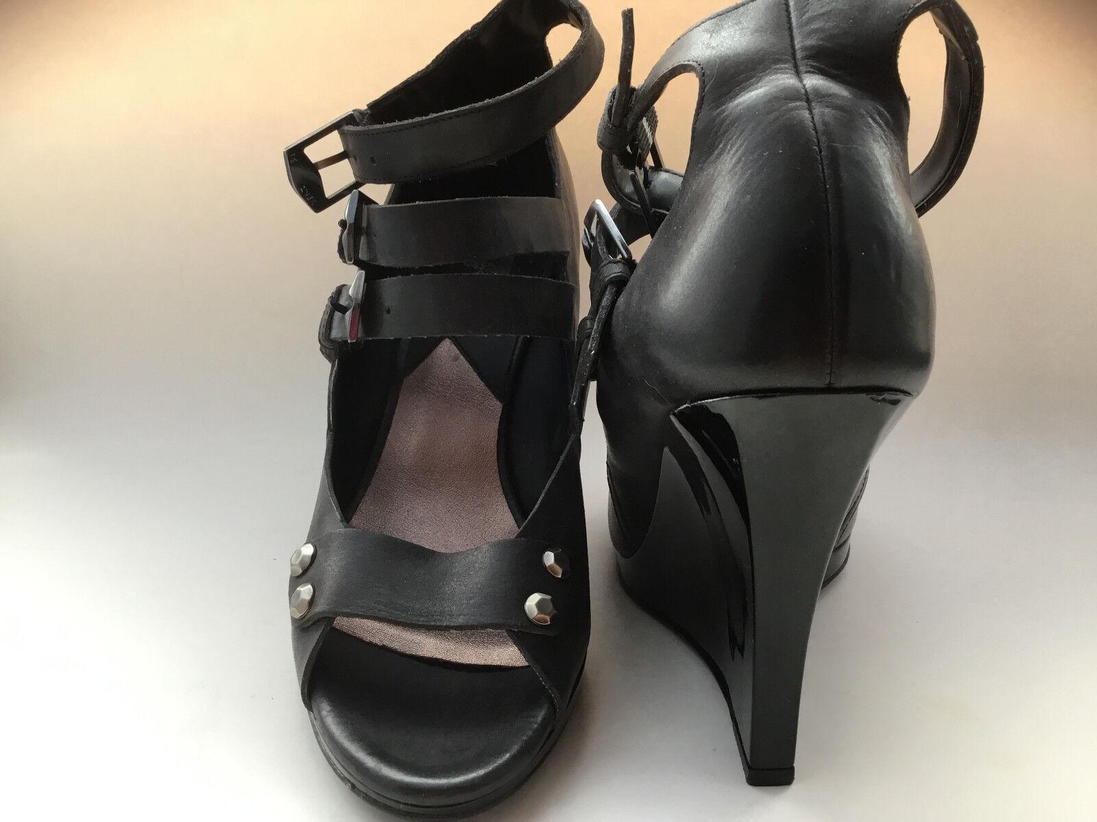 7 FOR ALL MANKIND High Heel Black Platform shoes Sandals.Leather SZ 6.5.
