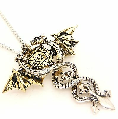 New Gothic Sacred Dragon Amulet Pendant Necklace Pewter Forbidden FB4