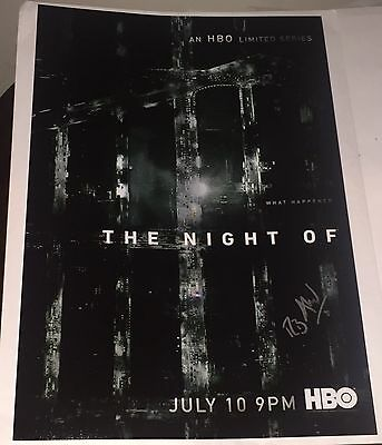 """Television Riz Ahmed Signed Autograph Rare """"the Night Of"""" 12x18 Full Poster Photo With Coa Good Heat Preservation Entertainment Memorabilia"""