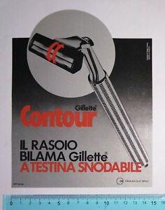 ADESIVO STICKER VINTAGE AUTOCOLLANT GILLETTE CONTOUR ANNI'80 15x19 cm RARO