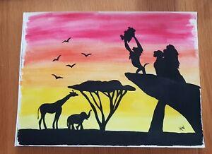Lion King Silhouette Watercolour Painting Simba Rafiki Mufasa Ebay