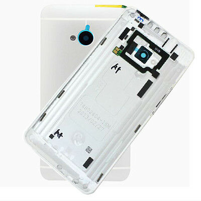 Silver Housing Battery Back Door Cover Case With Button For HTC One M7 801e