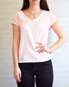 PLANET-Pale-Pink-Top-Silver-Bead-Short-Sleeve-V-Neck-Top-SALE-Was-29