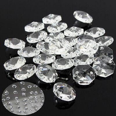50x Crystal Glass Octagonal Beads Chandelier Light Prisms Decor Pendant 14mm