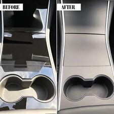 For Tesla Model 3 Matte Black Console Vinyl Wrap Cup Top And Center Ppf